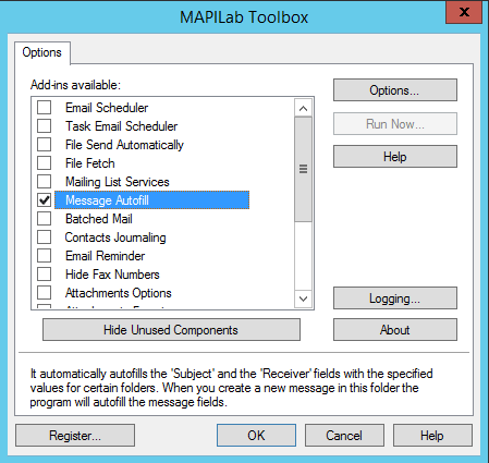 Outlook Toolbox options