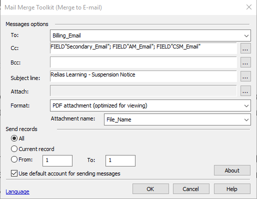 PDF attachments and message body text in Mail Merge Toolkit for