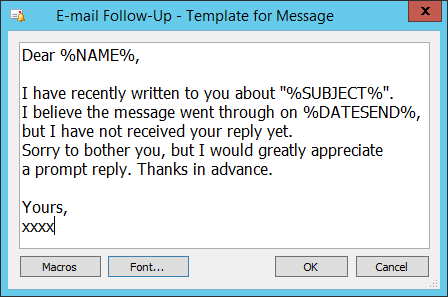 Template for e-mail message