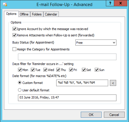 Email Follow Up Advanced Options