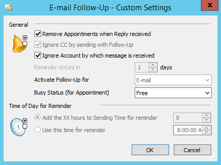 Email Follow Up add-in custom settings