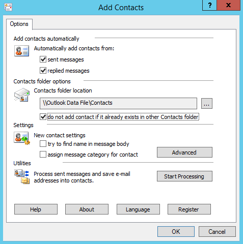 Add Contacts add-in main window