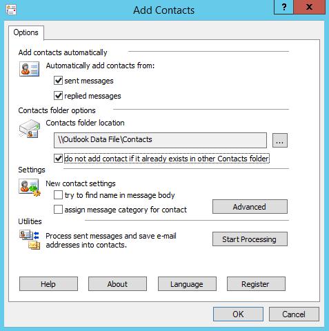 Add Contacts add-in main window