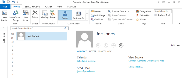New contact in Outlook