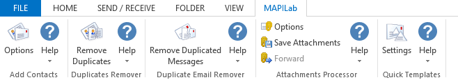 MAPILab ribbon in Outlook