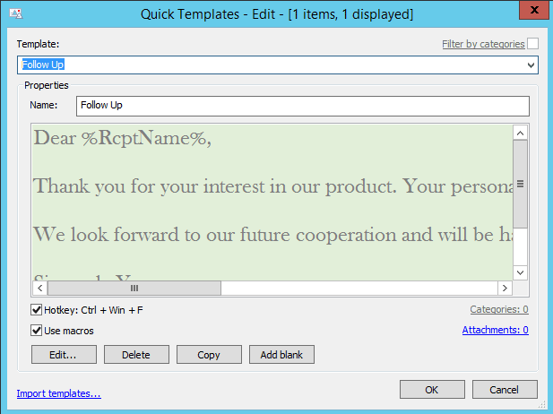 Creation of reply templates from emails in outlook for Edit outlook email template