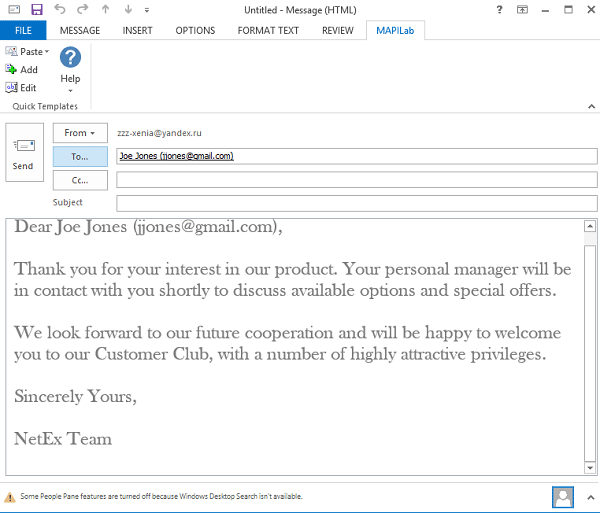 Created e-mail message in Outlook