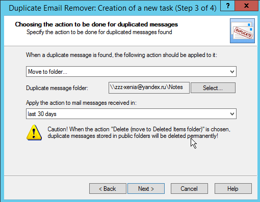 Action with mail duplicates