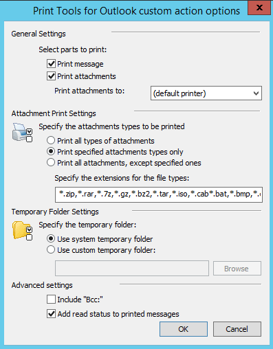 Automatic printing options in Outlook