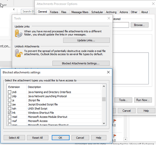Outlook blocked attachments