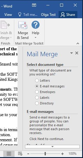 Outlook mail merge selection