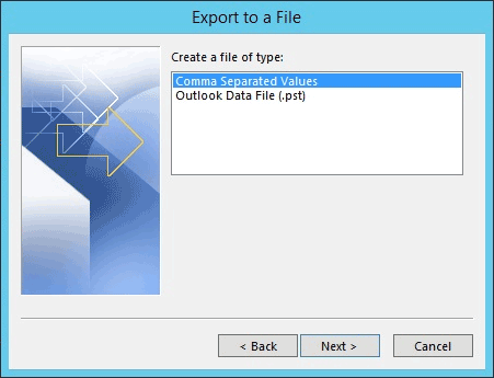 Outlook export in csv