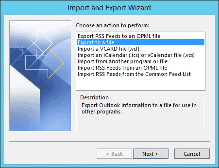 Import and export wizard in Outlook