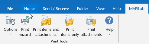 Print Tools add-in in Outlook ribbon