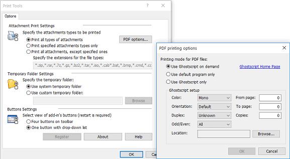 Printing PDF files in  Outlook