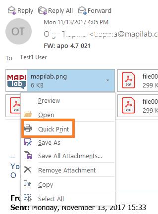 Quick Print in Outlook drop-down menu