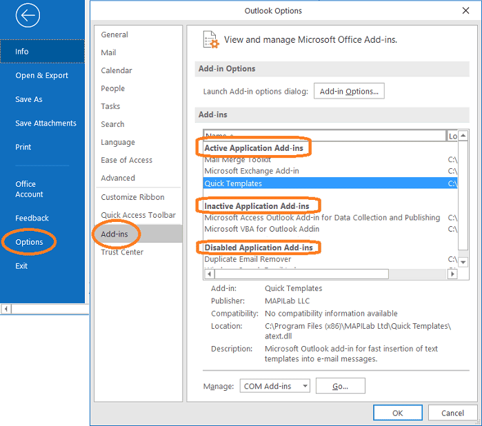 Add-ins in Outlook options