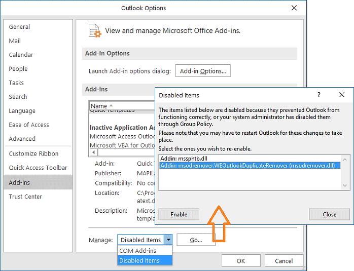 Manage disabled Outlook add-ins