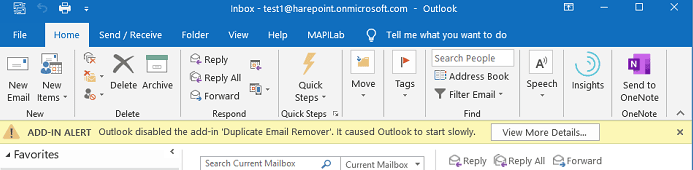 Outlook disabled items