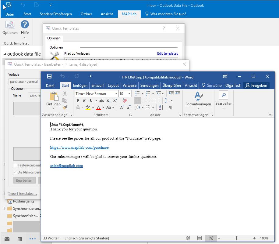 Quick Templates For Outlook Screenshots Vorgefertigte Vorlagen In Outlook Verwenden
