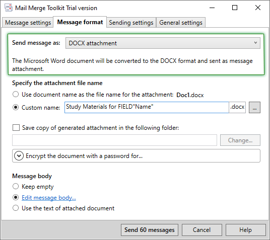 Массовая email рассылка документов в формате DOCX