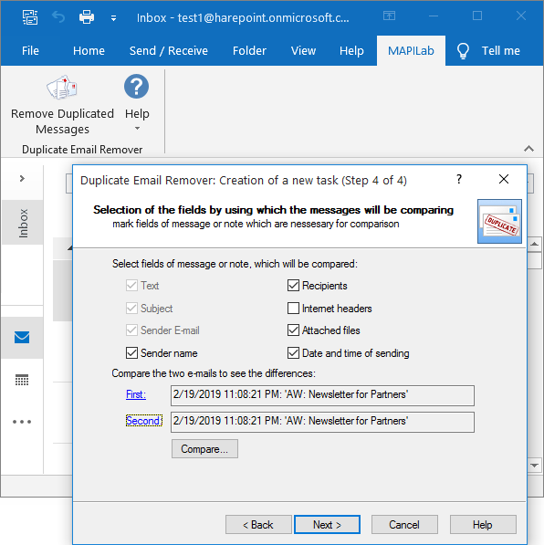 Duplicate Email Remover for Outlook