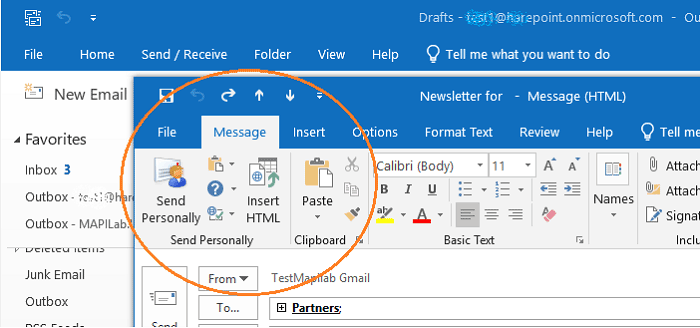 Send Personally in Outlook 2019 ribbon