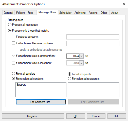 Filters assit to process outlook attachments