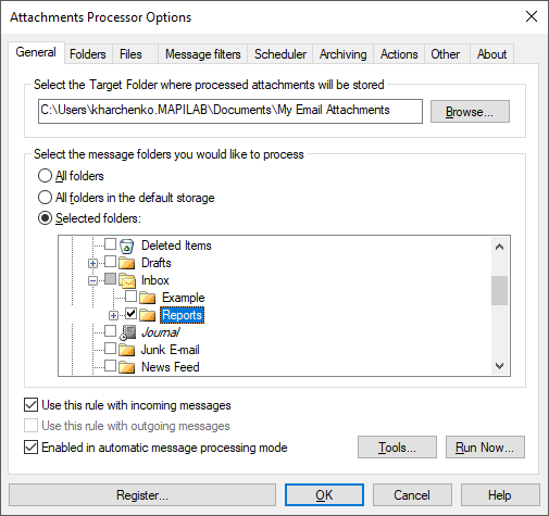 Outlook attachments processing add-in: extract, save, zip