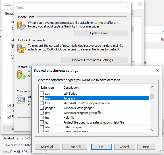 Access blocked attachments or block specific file types in Outlook