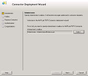 MPC Deployment Wizard. Step 1 - Select the Adminstrator's mailbox