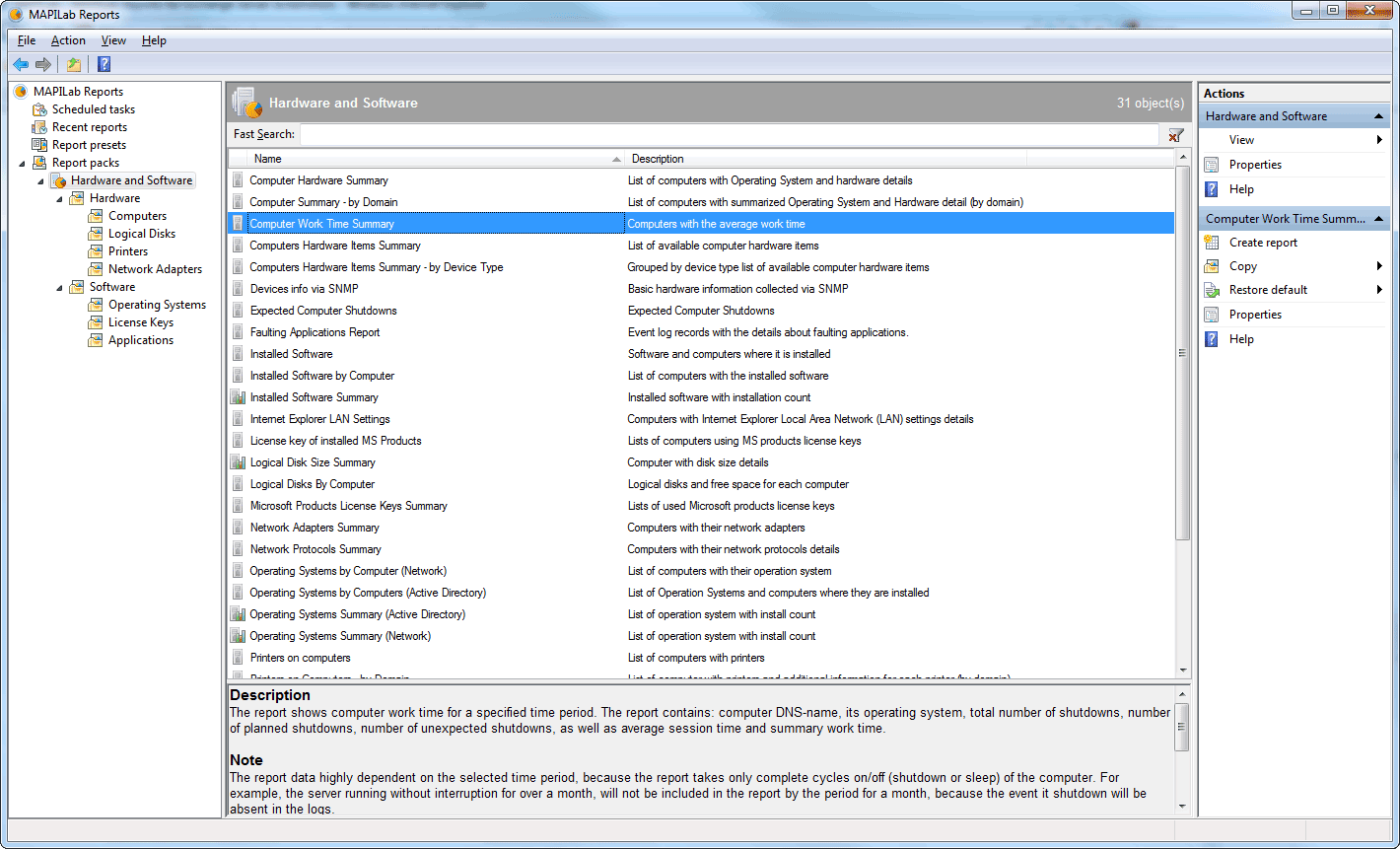 Click to view MAPILab Reports for Hardware and Software Inventory screenshots