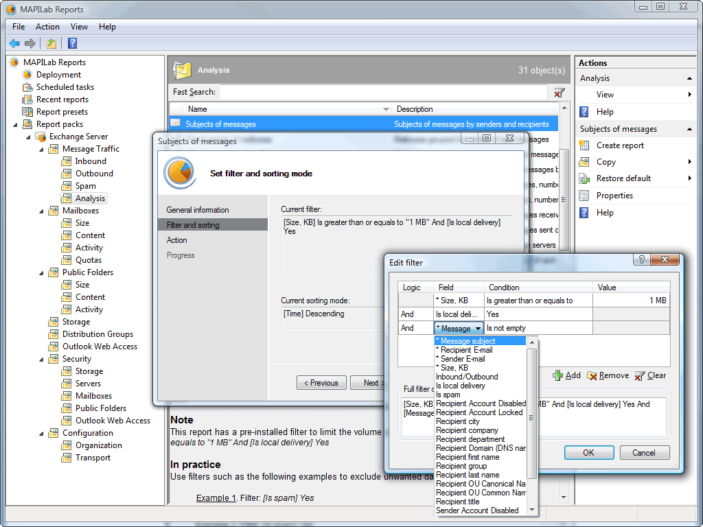 Click to view MAPILab Reports for Exchange Server 3.5 screenshot