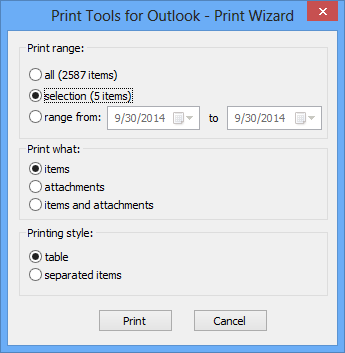 Printing wizard in Print Tools for Outlook